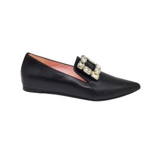 Black leather crystal-embellished Loafers