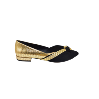 Leather ballerinas in black & gold